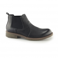 LOGAN Mens Leather Chelsea Boots Black
