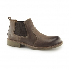 LOGAN Mens Leather Chelsea Boots Dark Brown