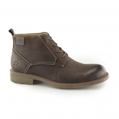 MILTON Mens Leather Chukka Boots Dark Brown
