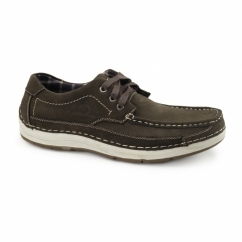 RUBBLE Mens Nubuck Lace Up Shoes Coffee