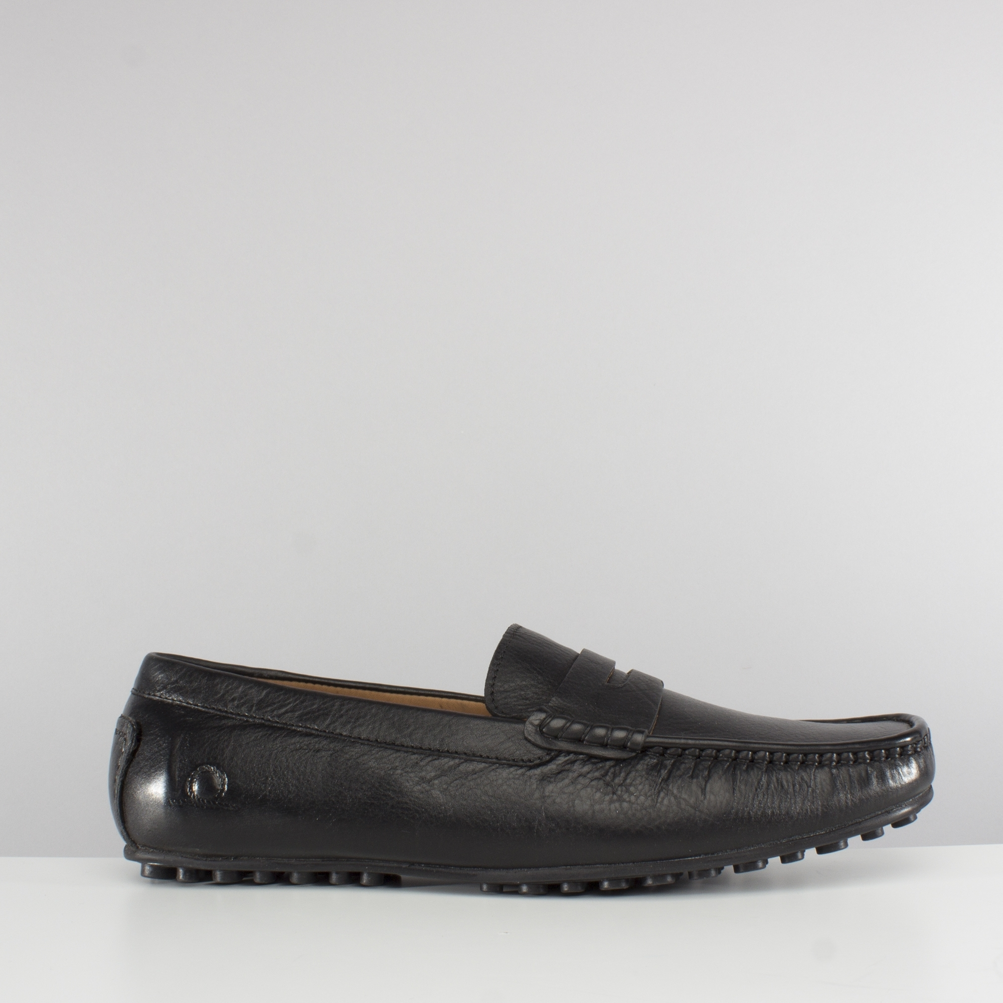 mens black leather driving loafers