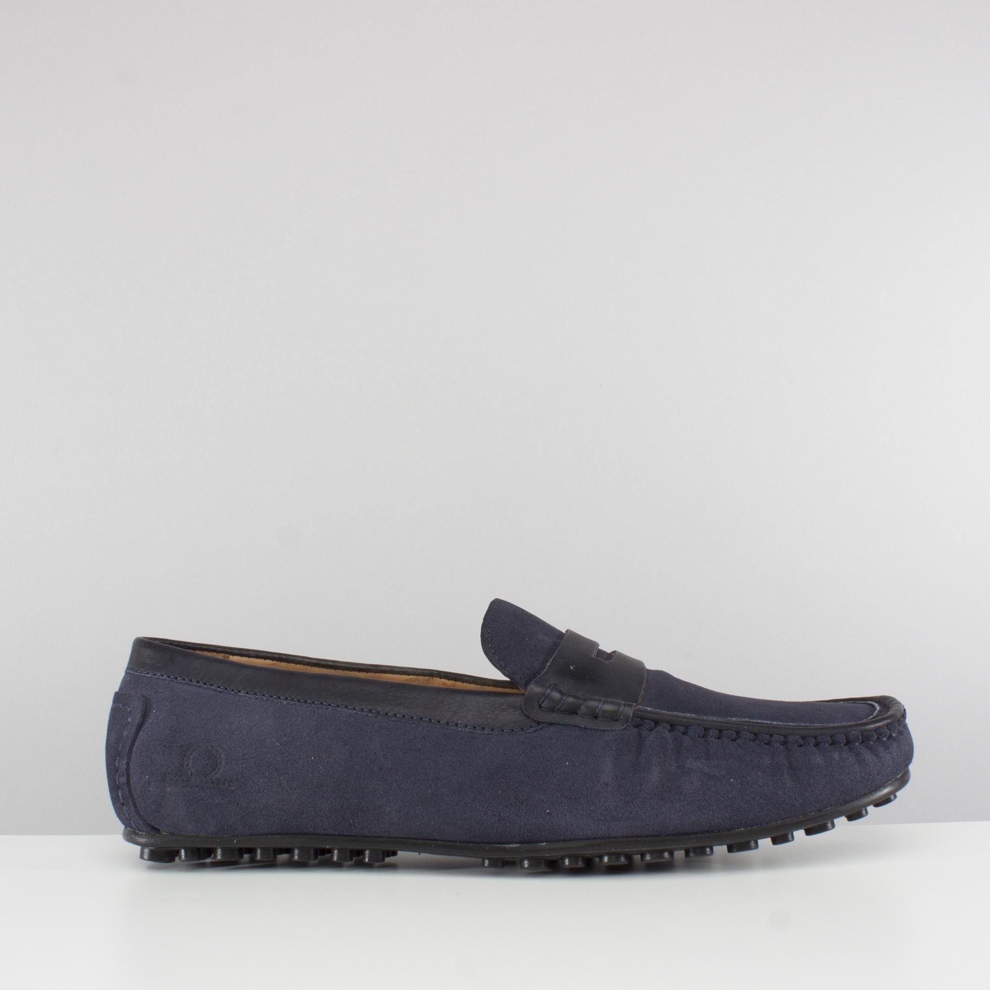 dd19ba0d3cfb7 Base London TOGA Mens Suede Moccasin Driving Shoes Navy Blue | Shuperb