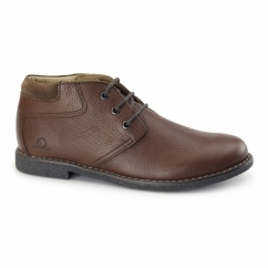 TOR Mens Leather Desert Boots Red Brown