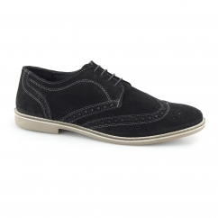 CHECKLEY Mens Suede Leather Brogue Derby Shoes Black