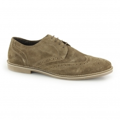 CHECKLEY Mens Suede Leather Brogue Derby Shoes Brown