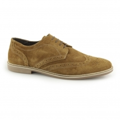 CHECKLEY Mens Suede Leather Brogue Derby Shoes Tan