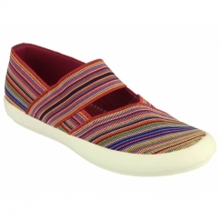 CHEDWORTH Ladies Canvas Slip-On Shoes Multi/Fuchsia