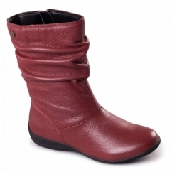 CHELSEA Ladies Leather Extra Wide Fit Zip Calf Boots Burgundy