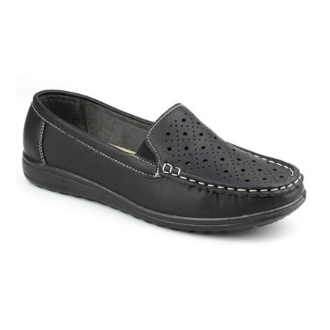 Amblers CHERWELL Ladies Slip On Casual Loafers Black
