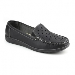 CHERWELL Ladies Slip On Casual Loafers Black