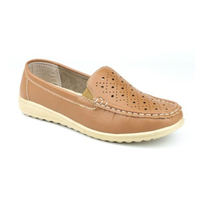 Amblers CHERWELL Ladies Slip On Casual Loafers Tan