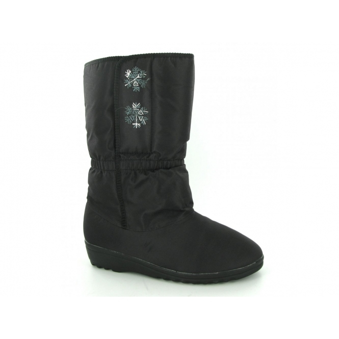 Blizzard Boots CHERYL Womens Calf Length Fur Lined Velcro Boots Black
