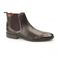 CHESHIRE Mens Washed Leather Chelsea Boots Brown