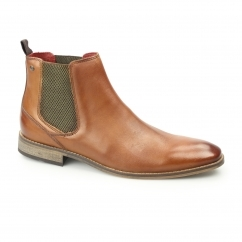 CHESHIRE Mens Washed Leather Chelsea Boots Tan