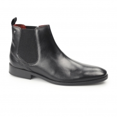 CHESHIRE Mens Waxy Leather Chelsea Boots Black