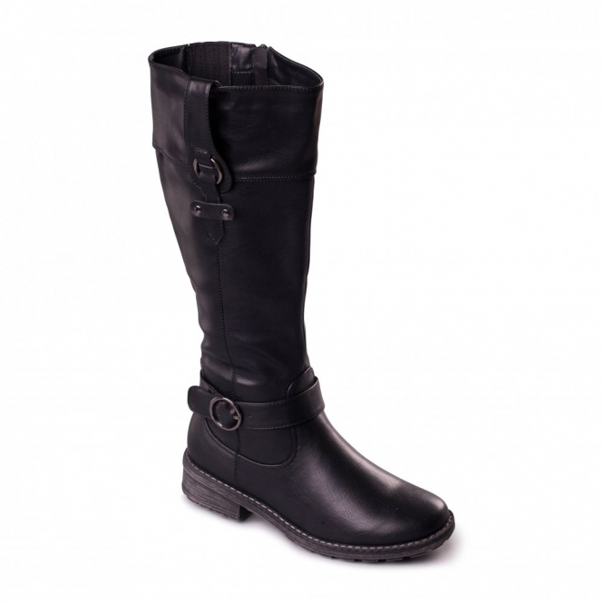 Padders CHICAGO Ladies Zip Extra Wide (EE) Knee High Boots Black