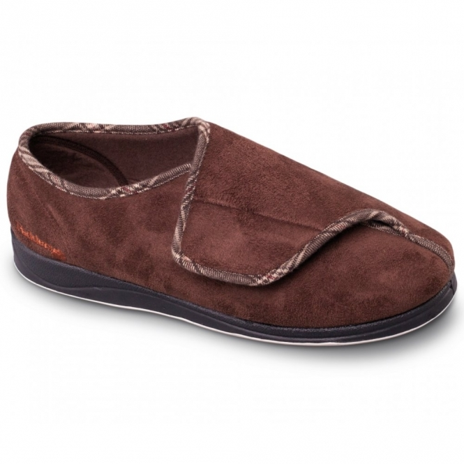 Padders CHRIS Mens Microsuede Velcro Wide Fit Full Slippers Dark Brown