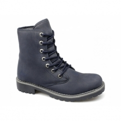 CHRISTEN Ladies Lace-Up Fold Over Warm Boots Navy