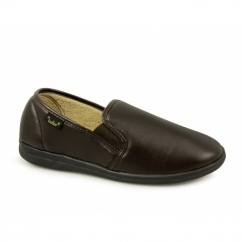 CHRISTOF Mens Faux Leather Wide Full Slippers Brown