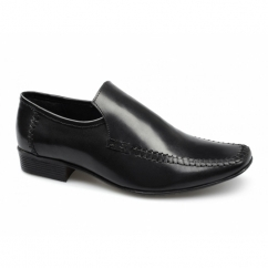 CHRISTOPHER Mens Leather Slip On Moccasin Loafers Black