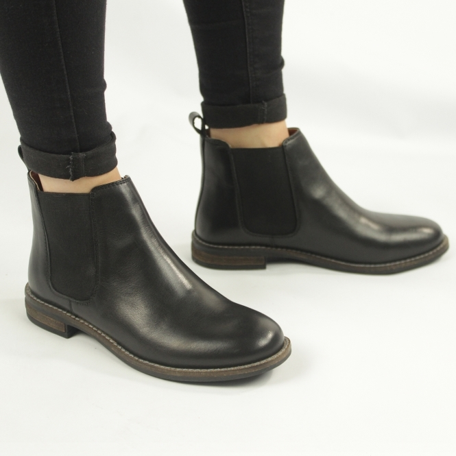 cheap price official store best shoes ALEXANDRA Ladies Real Leather Slip On Chelsea Boots Black | Shuperb