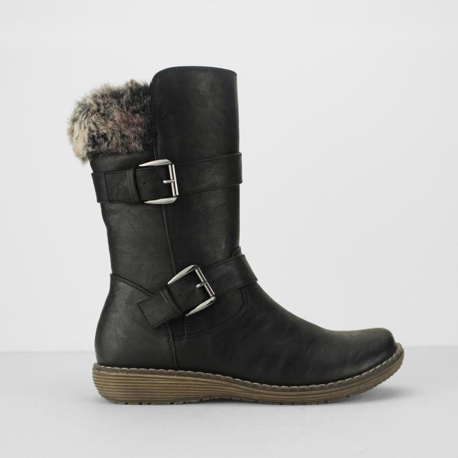 BELLA Ladies Faux Fur Collar Buckle Mid Calf Boots Black   Shuperb