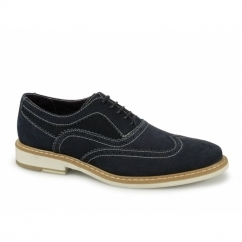CISSE Mens Suede Leather Brogue Shoes Navy