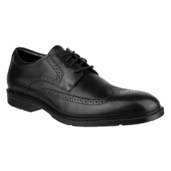 CITY SMART WINGTIP Mens Leather Brogue Derby Shoes Black