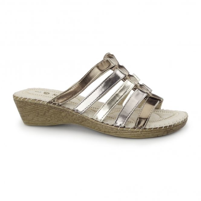 Natrelle CLARICE Ladies Wedge Mule Sandals Metallic Multi