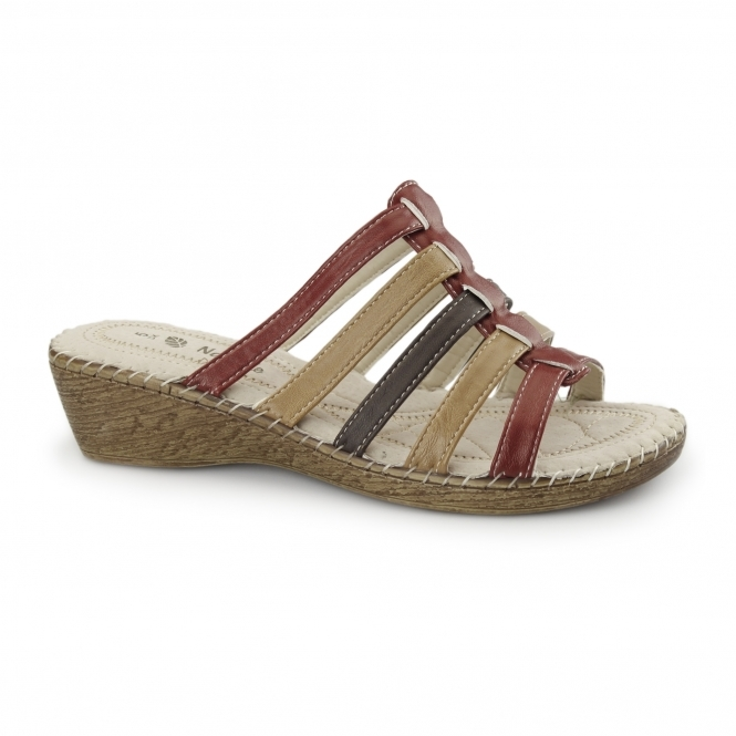 Natrelle CLARICE Ladies Wedge Mule Sandals Red Multi