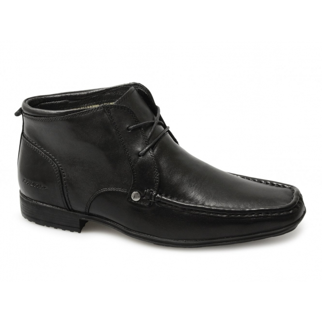 Front CLARKSON Mens Lace-Up Leather Ankle Boots Black