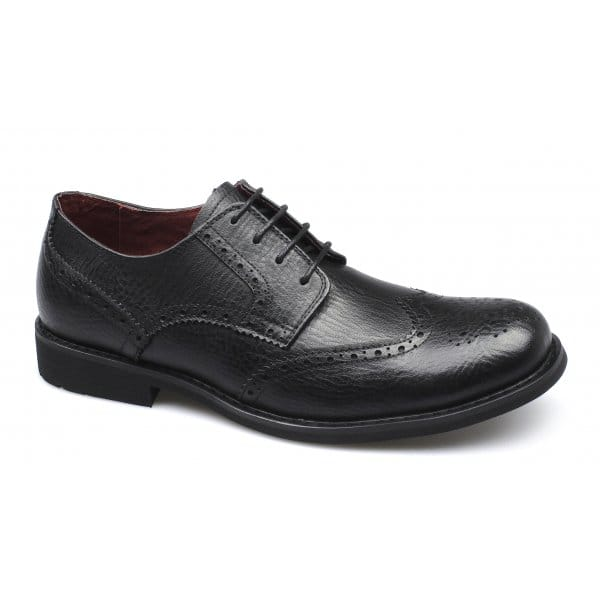 front claxton mens leather brogue lace up shoes black