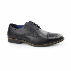 CLAYDON Mens Leather Toe Cap Derby Black