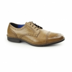 CLAYDON Mens Leather Toe Cap Derby Tan