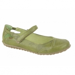 CLEO Ladies Leather Lined Velcro Bar Shoes Green