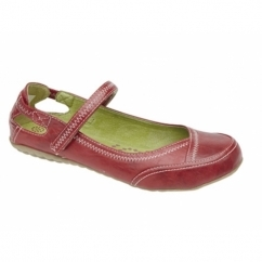 CLEO Ladies Leather Lined Velcro Bar Shoes Red