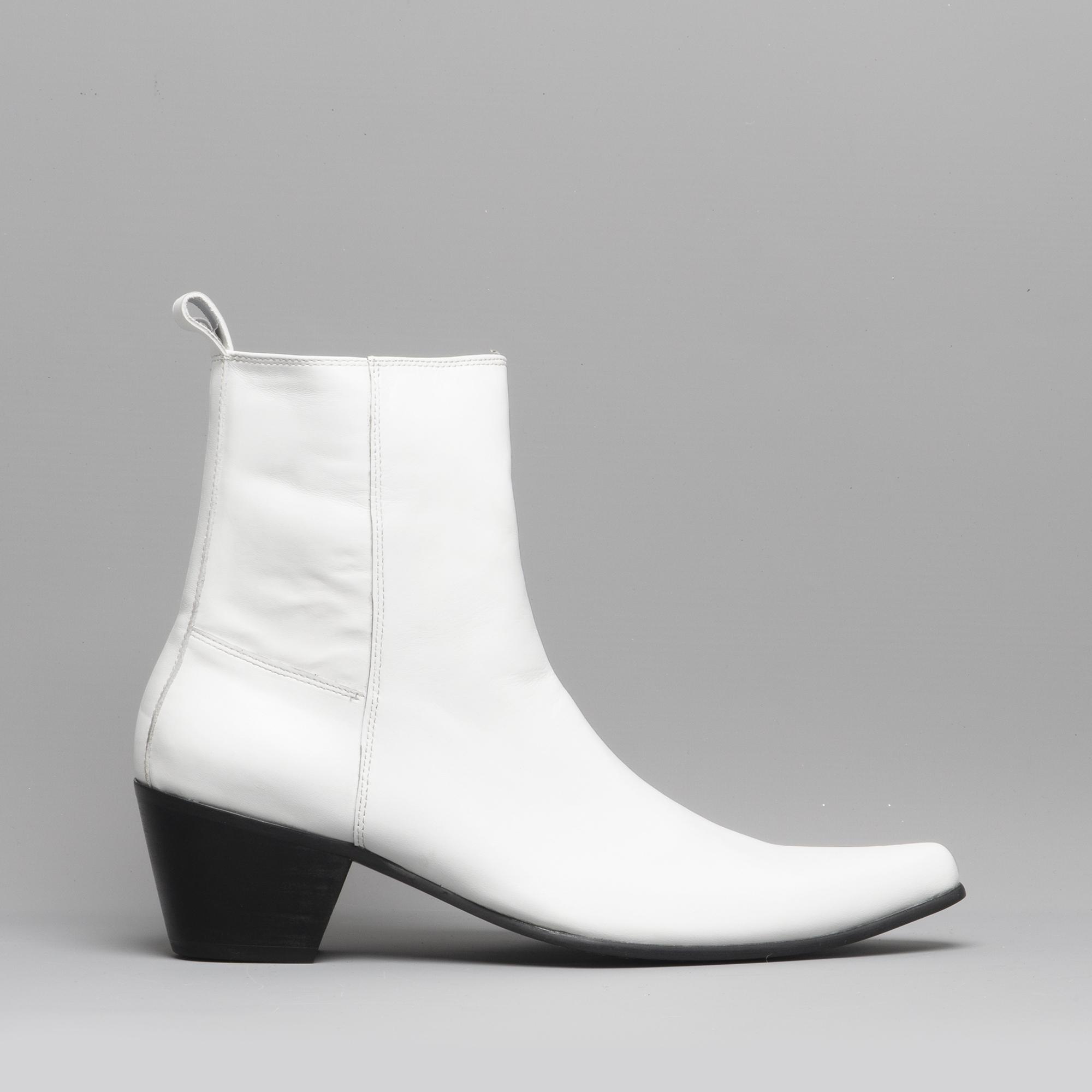 889fc9aacc2 Club Cubano LENNON Mens Leather Winklepicker Cuban Heel Boots White