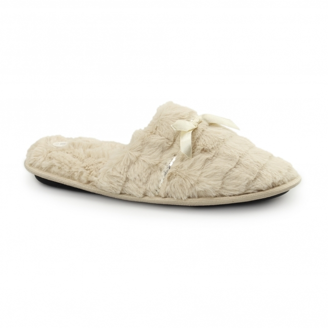 Fluffys COCO Ladies Faux Fur Sequin Mule Slippers Beige