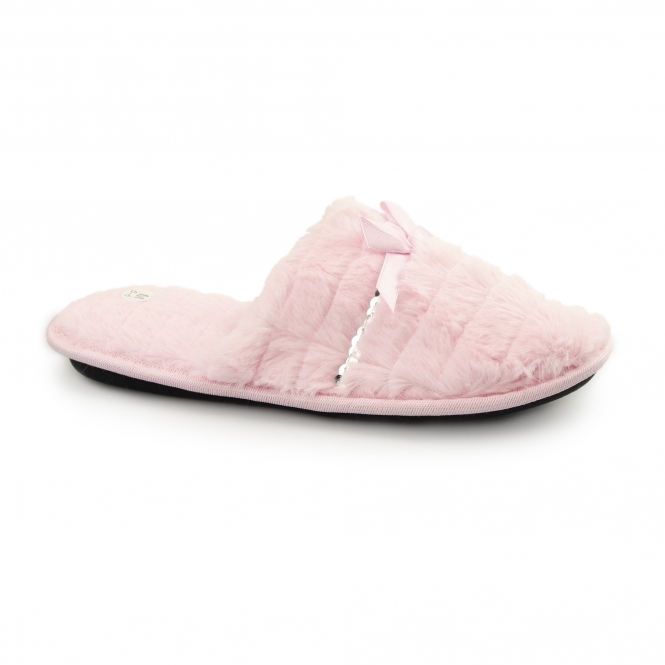 Fluffys COCO Ladies Faux Fur Sequin Mule Slippers Pink