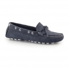 COCO Ladies Leather Nubuck Driving Deck Shoes Navy