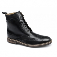 COHEN Mens Leather Brogue Derby Boots Black
