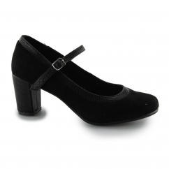 ALAMO Ladies Microfibre Wide Fit Mary Jane Court Shoes Black