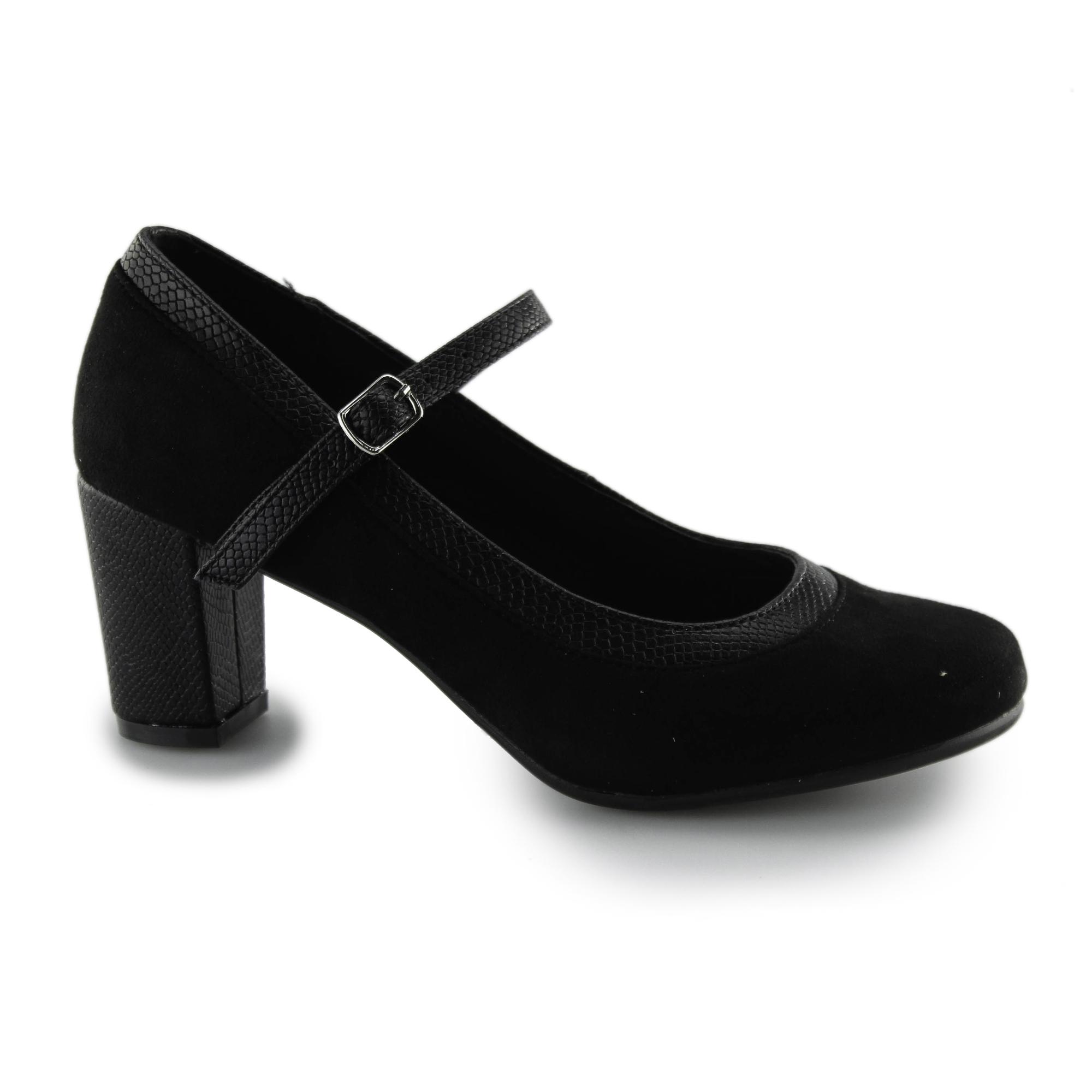 Comfort Plus Wide Fit Block Heel Mary Jane Style Shoes Patent Matt Court