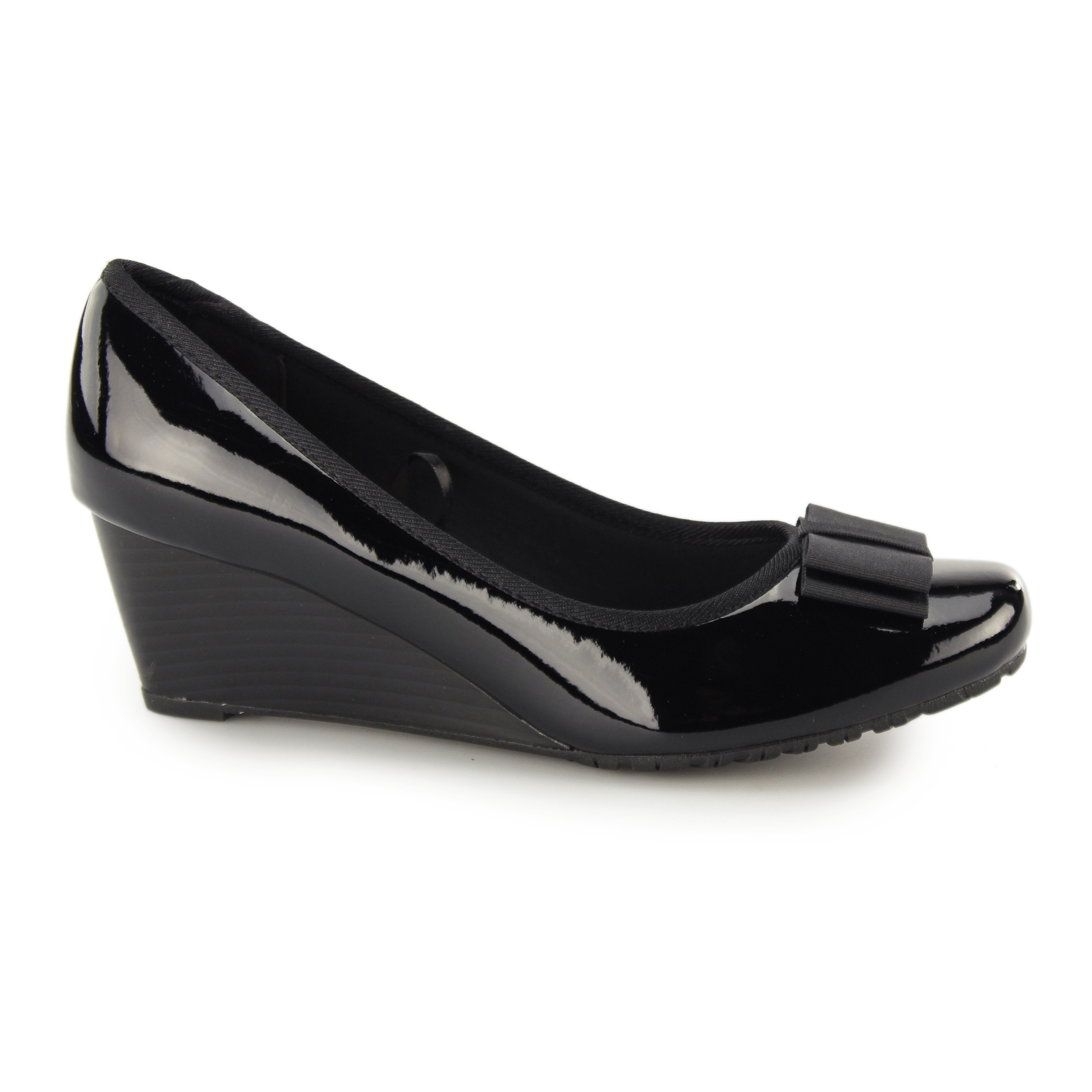 77cf017071 Comfort Plus ARVADA Ladies Patent Wide Fit Wedge Heels Black | Shuperb