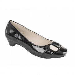 CIARA Ladies Faux Patent Slim Heel Court Shoes Black