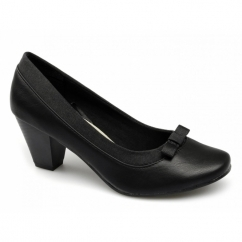DAISY Ladies Block Heel Bow Court Shoes Black