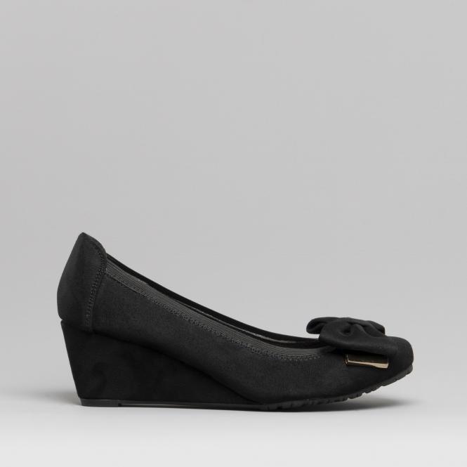 876bee914b38d5 Comfort Plus ELLIE Ladies Wide Fit Wedge Heel Shoes Black | Shuperb