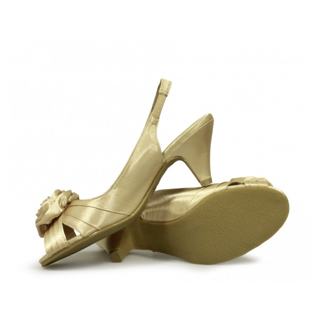 58dbde64571 Comfort Plus ENYA Ladies Wide E Fit Slingback Satin Shoes Gold