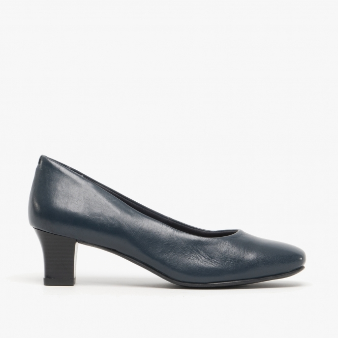 Leather Court Shoes Navy Blue