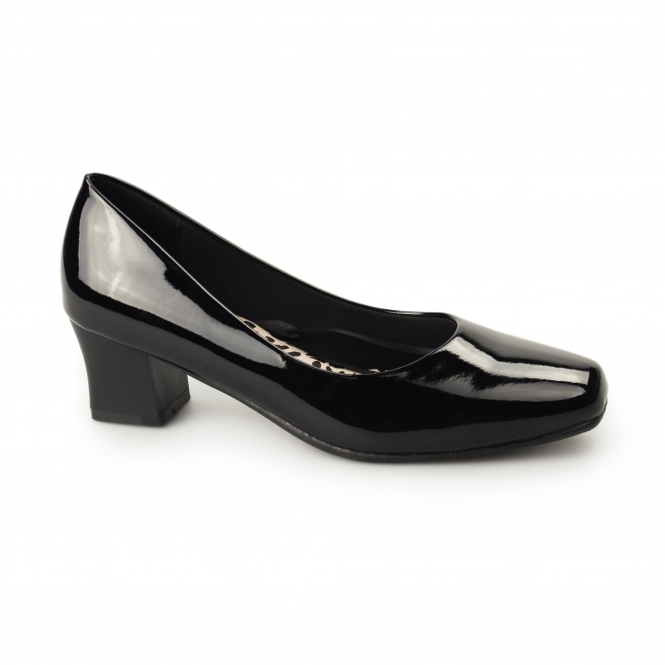 a83d09ef24f Comfort Plus KARLY Womens Ladies Court Shoes Patent Black